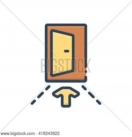 Color Illustration Icon For Input Penetration Entry Admission Ingress