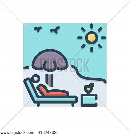 Color Illustration Icon For Holiday Vacation Leave Leisure Relax