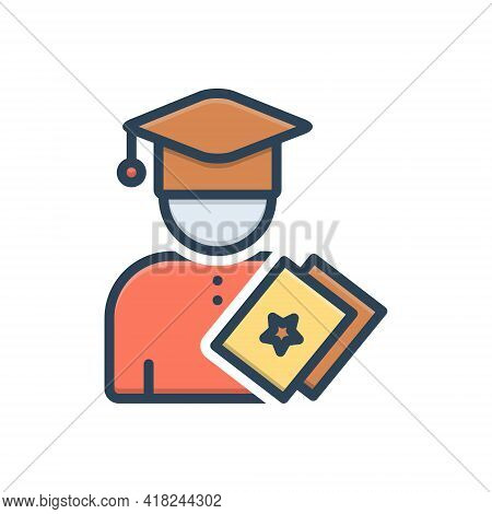 Color Illustration Icon For Education  Eligibility  Fresher  Freshman  Man  Person  Qualification