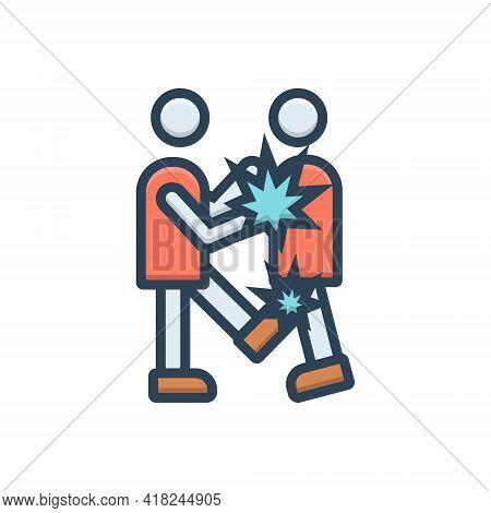 Color Illustration Icon For Fight Battle Fighting Squabble Combat Dispute Controversy Quarrel  Conte