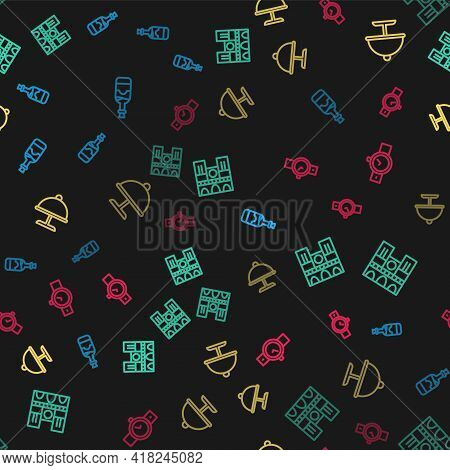 Set Line Bottles Of Wine, Notre Dame, Covered With Tray And Wrist Watch On Seamless Pattern. Vector