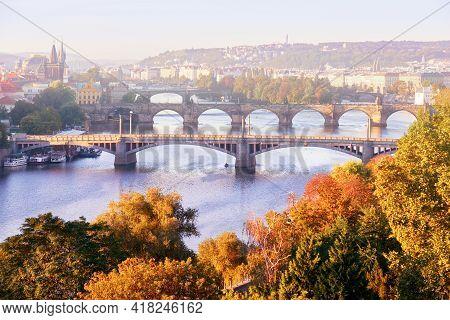 Prague In Mist, Six Bridges On Vltava River In Prague, Czech Republic, On A Misty Morning In Autumn.