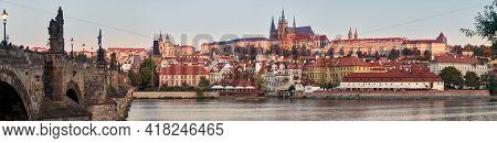 Banner, Prague Riverside, Charles Bridge And Castle At Dawn. Romantic Prague At Dawn. Vltava Riversi