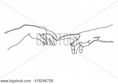 Continuous One Line Drawing Of Hands Going To Touch Together. One Line Art Of Touching Fingers. Vect