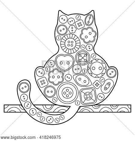 Cat. Coloring Book. Decorative Cat. Hand-drawn Vector Illustrations Decorated With Decorative Button