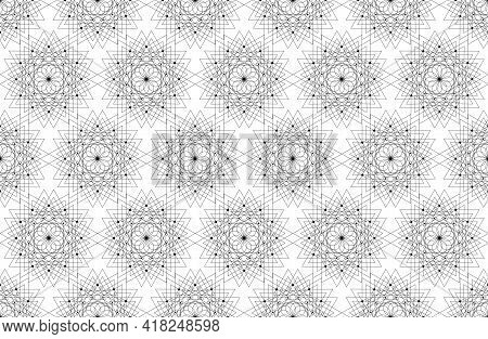 Seamless Sacred Geometry Seed Of Life Pattern Background. Logo Flower Of Life Texture Geometric Myst