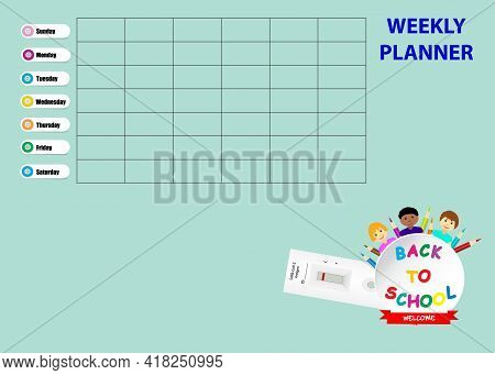 Back To School Weekly Planner With Negative Result Of Rapid Covid-19 Test. Week Stars On Sunday.