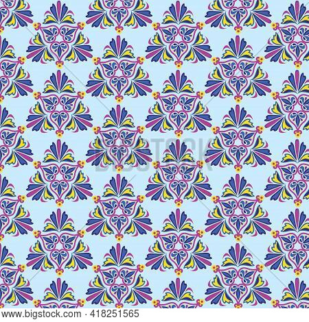 Geometric Pattern In Moroccan Style On A Blue