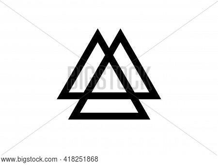 Interwoven Triangles, Valknut, Sacred Geometry. Flat Icon. Logo, Tattoo, Occult Amulet. Esoteric Sym