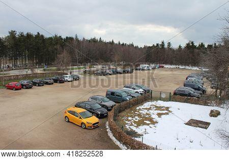 Hautes Fagnes, Belgium, 15 April, 2021: View Of The Visitors Carpark From The Highest Point In Belgi