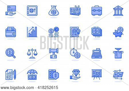 Business Finance Web Flat Line Icon. Bundle Outline Pictogram Of Money, Accounting, Management, Bank