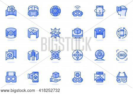 Virtual Reality Web Flat Line Icon. Bundle Outline Pictogram Of Vr Glasses, Virtual Simulation, 360