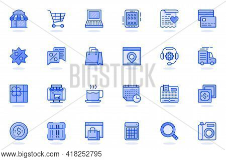 Shopping Web Flat Line Icon. Bundle Outline Pictogram Of Shop, Supermarket, Purchases, Payment, Disc