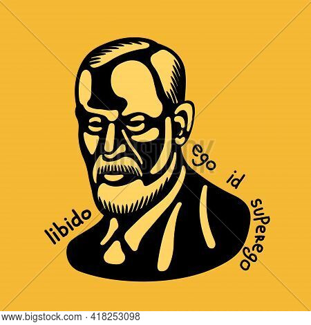 Sigmund Freud - The Father Of Psychoanalysis, Portrait Painter. Stencil In Black On A Yellow Backgro