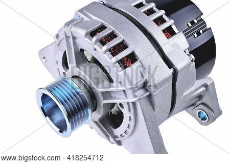Car Generator, Car Electrical Network Element On White Background, Generator Details Close-up Select