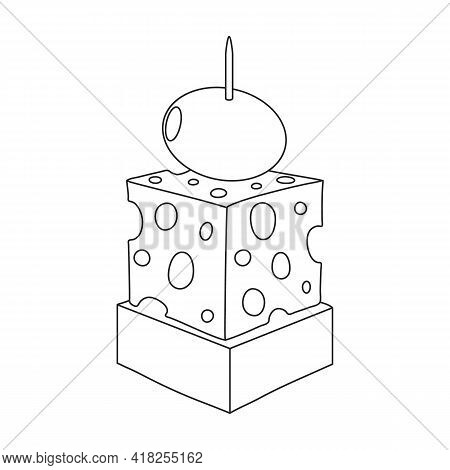 Canape Vector Outline Icon. Vector Illustration Food Appetizer On White Background. Isolated Outline