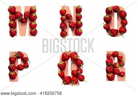 Alphabet Letters With Strawberries In The Form Of Letters M N O P Q