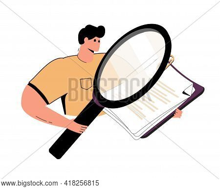 Outline Cartoon Man With A Loupe And Report Making Research, He Looking For Something In The Documen