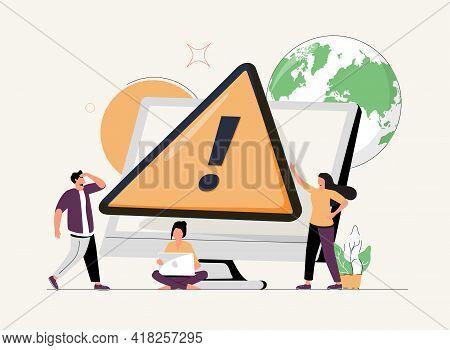 Tiny People Examining Operating System Error Warning On Web Page Isolated Flat Vector Illustration.