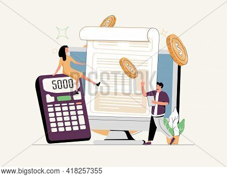 Financial Software Abstract Concept Vector Illustration Set. Cashback Service, Banking Operations, E