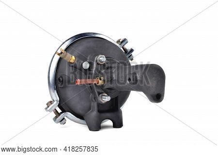 Vacuum Brake Booster Of Car Pneumatic System. Auto Brake System Detail, White Background Close-up Se