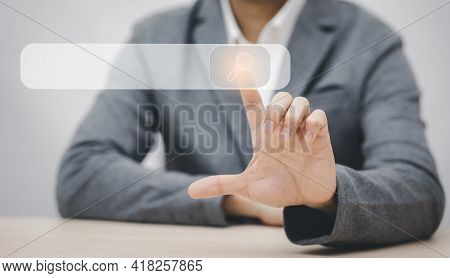 Business Touch Search Box Of Data Search Technology Search Engine Optimization. Man's Hands Are Usin