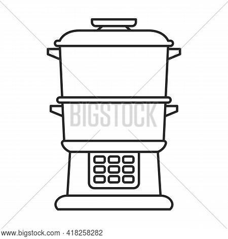 Steam Cooker Vector Outline Icon. Vector Illustration Double Boiler On White Background. Isolated Ou