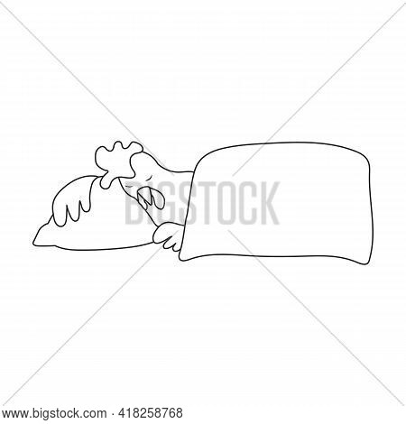 Cock Rooster Vector Outline Icon. Vector Illustration Rooster On White Background. Isolated Outline