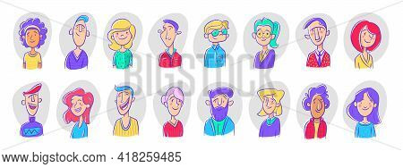 Set Different Person Portrait Diverse Business Team Vector Flat Illustration. Collection Of People A