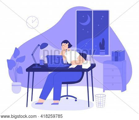 Woman Work Late At Night. Tired Female Freelancer Busy At Computer Overnight In Home Office With Des