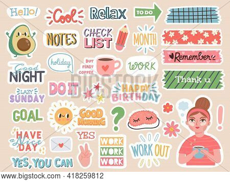 Planner Stickers. Cartoon Characters And Motivation Notes For Diary, To Do List Or Scrapbook Decorat