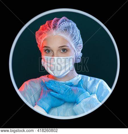 Honest Doctor. Medical Dedication. Devotion Loyalty. Headshot Avatar Portrait Of Female Surgeon In B
