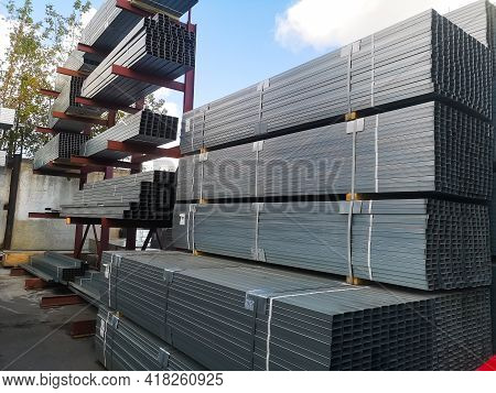 Galvanized Metal Wall Profiles For Construction Work Are Packaged At The Wholesale Base Of Building