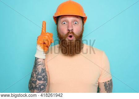 Incompetent Worker Is Wondered About His Work. Cyan Background