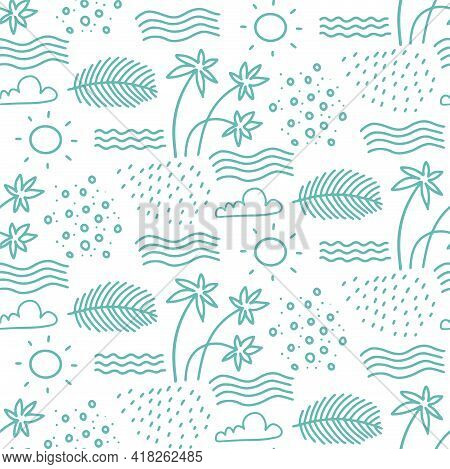 Linear Monochrome Seamless Summer Pattern For Wrapping Paper. Cute Doodle Summer Pattern With Palm T