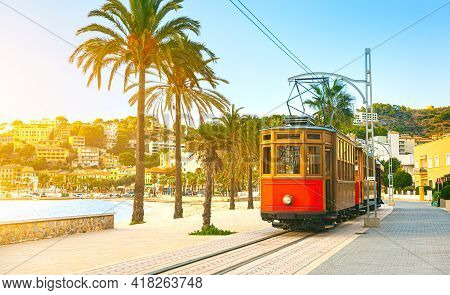 The Famous Orange Tram Runs From Soller To Port De Soller, Mallorca, Spain