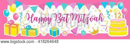 Bat Mitzvah Invitation Or Congratulation Card. Jewish Holiday, Girls Birthday. Vector Illustration