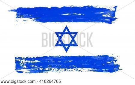 Israel Flag, Blue Stroke Vector Illustration Banner