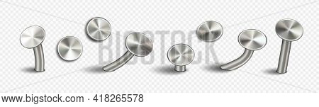 Carpentry Iron Nails Hammered Into Wall Isolated On Transparent Background. Chrome Metal Constructio