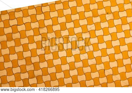 Vintage Earthenware Floor Tiles From 20s In Yellow And Beige, Abstract Background, Graphic Design. M