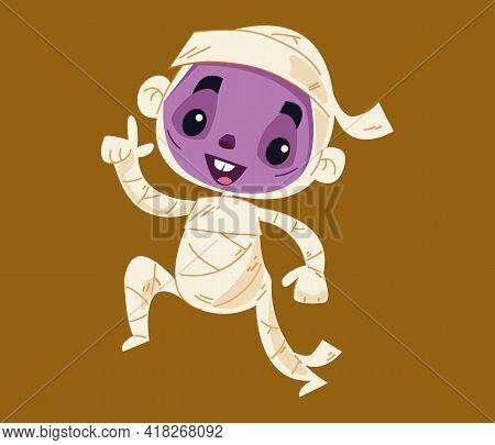 The Mummy Pharaoh Is Dancing Salsa. Cartoon Monster Character. Children S Halloween Parties. Vector