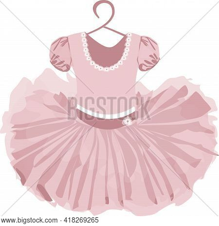 Vector Image Of A Childrens Puffy Tutu Dress In Pale Pink Tones With A Hanger On A White Background