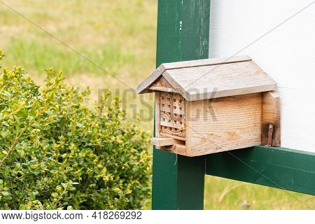 Bee Nest Box In A Garden, Providing Habitat For Wild Bees
