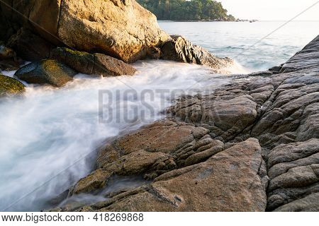 Beautiful Long Exposure Seascape With Sea Wave Forms A Dense White Foam On The Rocks Seashore Cliff