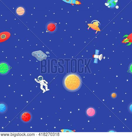 Cosmic Fabric For Kids. Astronaut With Rocket And Alien In The Open Space Cute Design For Kids Fabri