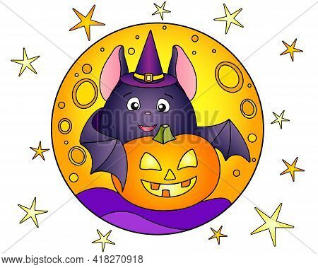 Fat Bat And Halloween Pumpkin On The Background Of The Moon And Stars - Vector Linear Color Illustra