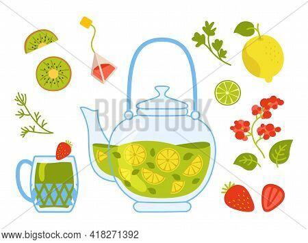 Autumn Hot Tea Cartoon Cozy Set. Kettle Medicinal Tea In Transparent Teapot With Lemon, Lime, Berrie