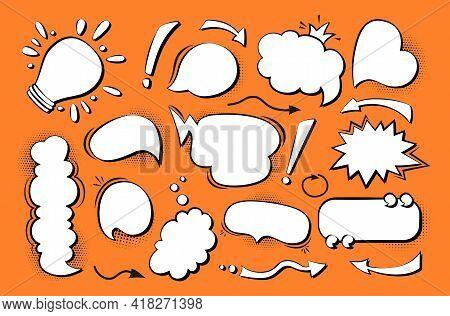 Speech Bubble Comic Pop Art Set. Retro Empty Design Elements Dialog Clouds With Halftone Dot Backgro