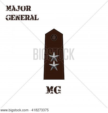 Realistic Vector Icon Of The Chevron Of The Major General Of The Us Army. Description And Abbreviate