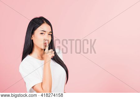 Asian Happy Portrait Beautiful Cute Young Woman Smile Stand Making Finger On Lips Mouth Silent Quiet